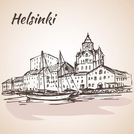Helsinki - harbor, waterfront. Sketch, Isolated on white background. Vetores