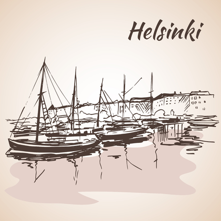 waterfront: Helsinki - harbor, waterfront. Sketch, Isolated on white background Illustration