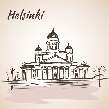 lutheran: The Helsinki Lutheran Cathedral - Helsinki, Finland. Sketch, Isolated on white background