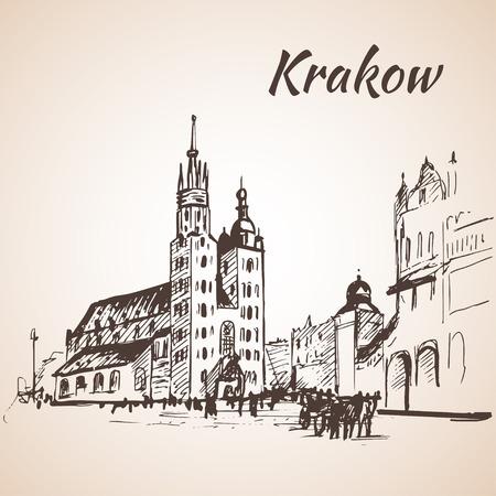 Main Square, Krakow, Poland. Sketch. Isolated on white background