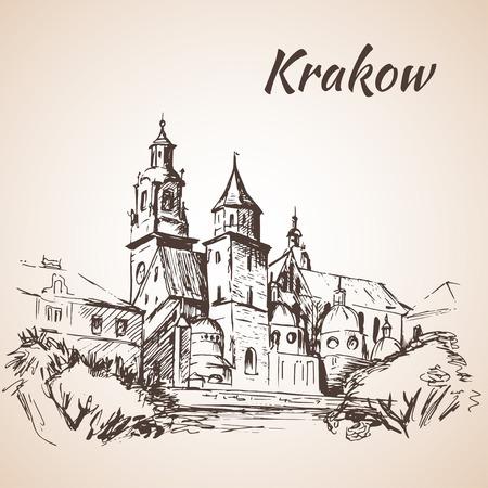 ヴァヴェル大聖堂 - クラクフ、ポーランド。スケッチ。白い背景の上の solated  イラスト・ベクター素材
