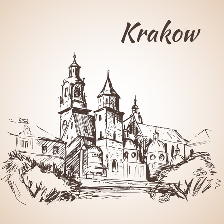 solated on white: Wawel Cathedral - Krakow, Poland. Sketch. solated on white background