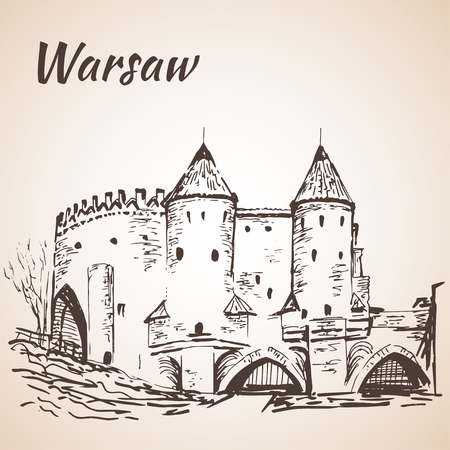 Warsaw Barbican. Sketch. Isolated on white background