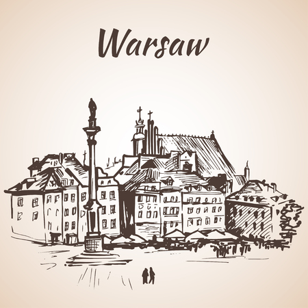 Castle Square in the old quarter of Warsaw, Poland. Sketch. Isolated on white background