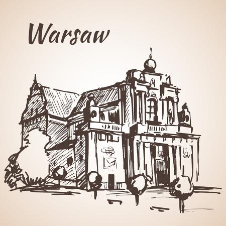 warsaw: Carmelite Church, Warsaw.  Sketch. Isolated on white background Illustration
