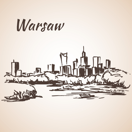 Warsaw cityscape. Sketch. Isolated on white background