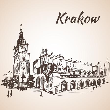 Place principale, Cracovie, Pologne. Esquisser. Isolé sur fond blanc Banque d'images - 58326785
