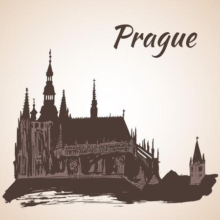 Prager Burg Veitsdom - Prag, Tschechische Republik Vektorgrafik