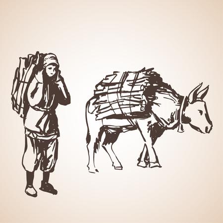 brushwood: Man with brushwood and bull. Isolated on white background
