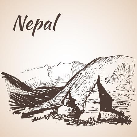 himalayas: Nepal Himalayas. Isolated on white background Illustration