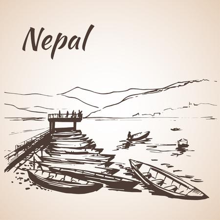 Nepal bekijken met water en vele boten. Geïsoleerd op witte achtergrond Stock Illustratie