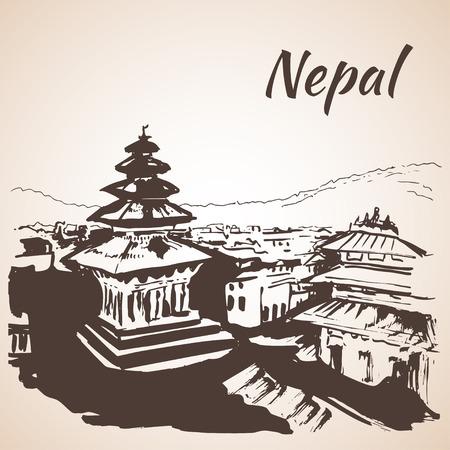 himalayas: Kathmandu Durbar Square Nepal. Sketch. Isolated on white background Illustration