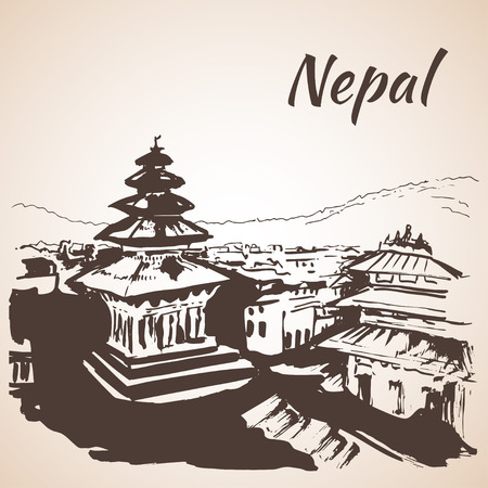 Kathmandu Durbar Square Nepal. Sketch. Isolated on white background Illustration