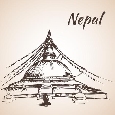 Boudhanath Stupa - Kathmandu, Nepal. Isolated on white background 向量圖像