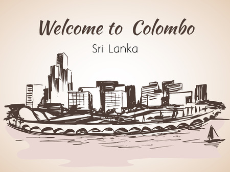 colombo: Sri Lanka, Modern Colombo city view Illustration