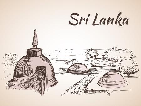 Sri Lanka - several stupas near the lake