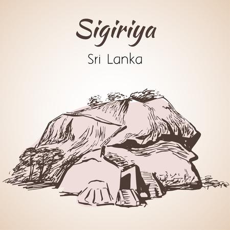 sigiriya: Rock fortress Sigiriya, Sri Lanka. Isolated on white background Illustration