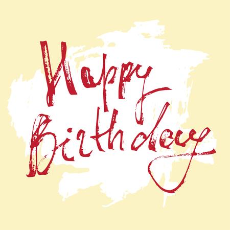 wishing card: Happy birthday - lettering, ink pen