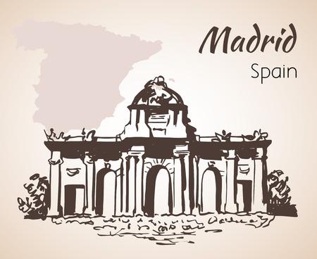 Puerta de Alcala - Madrid. Spain. Isolated on white background Illustration