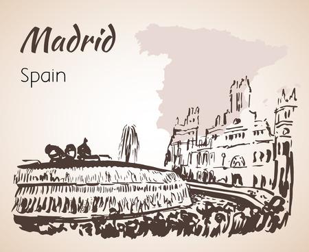 플라자 드 Cibeles 분수와 광장. 마드리드. 흰색 배경에 고립 일러스트
