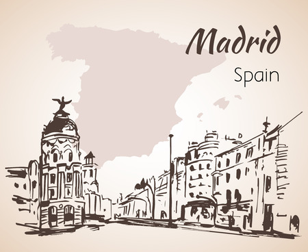 Madrid hand drawn street. Spain. Isolated on white background Ilustração