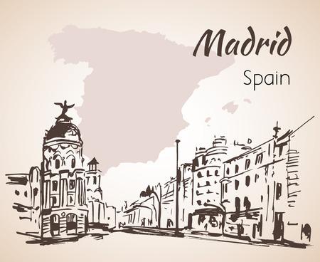 Madrid hand drawn street. Spain. Isolated on white background Çizim