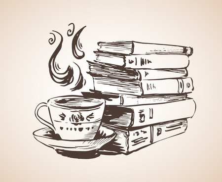 Pile of books with cup of tea. Isolated on white background