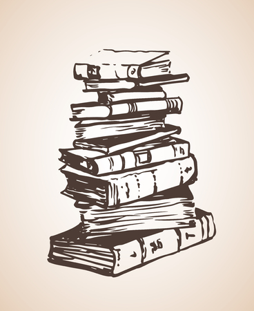 Big Pile of different books. Isolated on white background