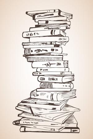 Libros Abiertos Dibujo Lectura Colección De Negro Líneas. Gran ...