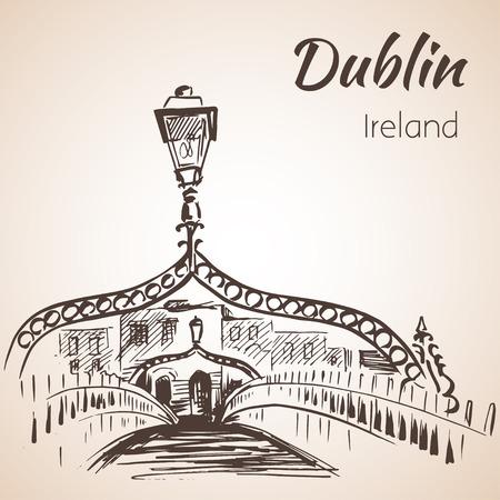 Ha'penny Bridge, Dublin, Ireland. Isolated on white background