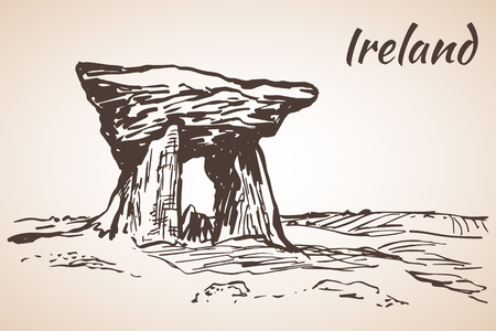 irish cities: Poulnabrone Portal Tomb - Ireland - based in the Burren. Isolated on white background Illustration