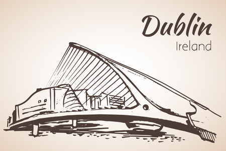 irish cities: Samuel Beckett Bridge, Dublin, Ireland. Isolated on white background Illustration