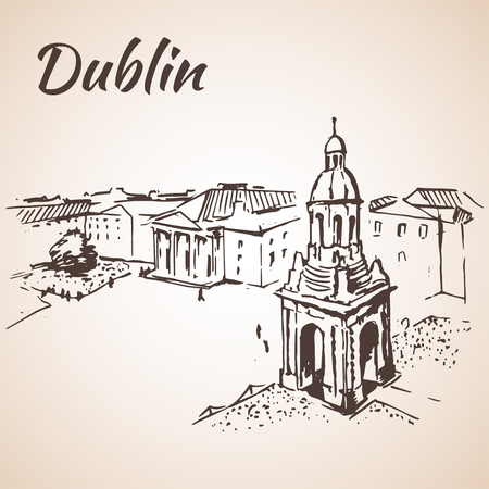 irish cities: Dublin square cityscape - Ireland. Isolated on white backdround
