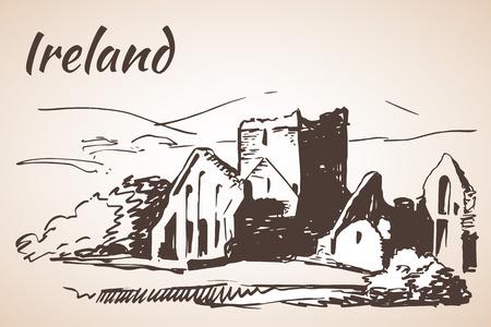 irish cities: Dunluce Castle Ruins, Northern Ireland. Isolated on white background Illustration