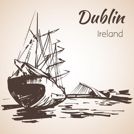 samuel: Samuel Beckett Bridge, Dublin, Ireland. Isolated on white background Illustration
