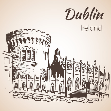ireland cities: Dublin Castle - Ireland. Isolated on white background