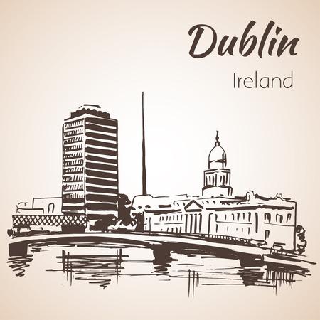irish cities: Dublin Liffey Liberty Hall. Ireland. Isolated on white background Illustration