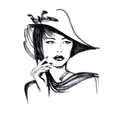 Hand drawn visage jeune femme. Isolé sur fond blanc Banque d'images - 61578551