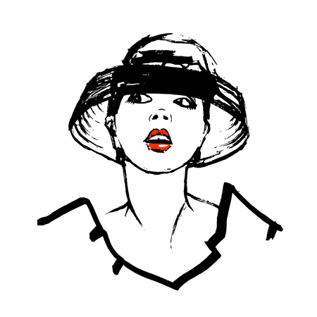 big hat: Hand drawn young woman face. Isolated on white background