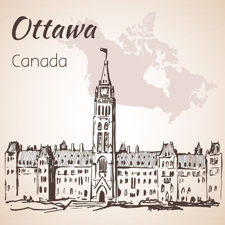 The Gothic Revival Parliament Buildings Ottawa and map. Isolated on white background