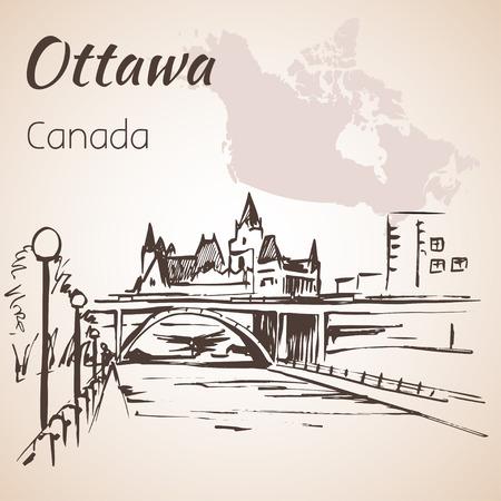 rideau canal: Ottawa Rideau Canal courtesy.Ottawa and map. Isolated on white background Illustration