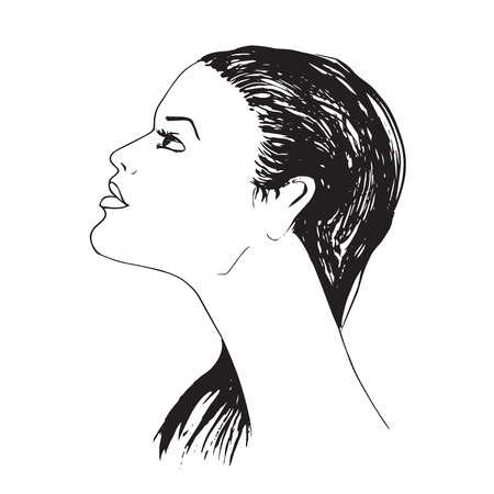 Hand drawn Profile of young woman with long hair.  Isolated on white background Stock Vector - 61578600
