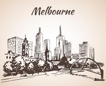 メルボルン都市景観スケッチ - オーストラリア。白い背景に分離
