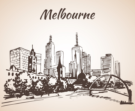 Melbourne city scape sketch - Australia. Isolated on white background