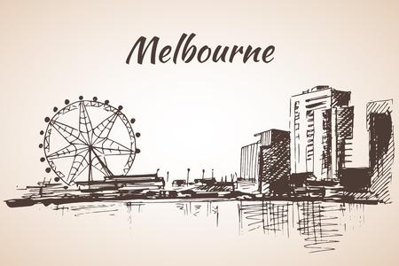melbourne australia: Melbourne city scape sketch - Australia. Isolated on white background