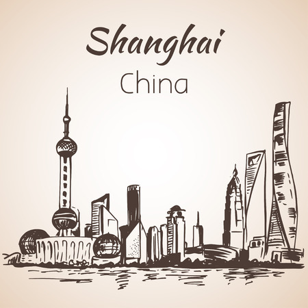 shanghai skyline: Shanghai hand drawn landscape. Isolated on white background Illustration