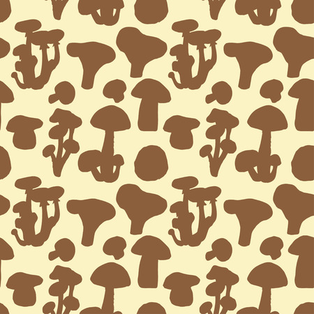 morel: Seamless pattern with hand drawn different mushrooms