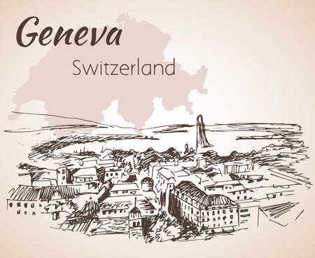 dibujado a mano paisaje urbano de Ginebra, Suiza. Aislado en el fondo blanco