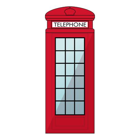 cabina telefonica: Cabina de tel�fono roja de Londres. Aislado en el fondo blanco Vectores