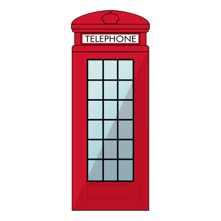 cabina telefonica: Red London Phone booth. Isolated on white background Vectores